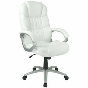 White High Back Pu Leather Executive Office Desk Computer Chair W Metal Base