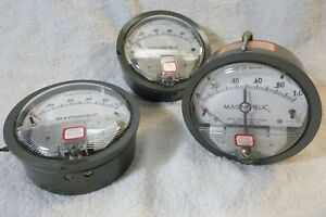 Dwyer Magnehelic Pressure Gage 2001c 0 1 Lot Of 3
