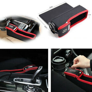 2x Car Seat Gap Catcher Pocket Coin Storage Organizer Box Pu Leather Cup Holder