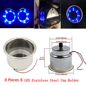 8pcs Blue Light 8 Led Stainless Steel Cup Drink Holder Marine Boat Car Truck