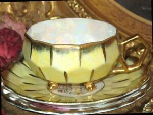 Royal Sealy 3 Footed Yellow Iridescent Gold Beehive Tea Cup And Saucer Vintage