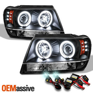 Fits 99 04 Jeep Grand Cherokee Black Dual Halo Projector Led Headlights 8k Hid