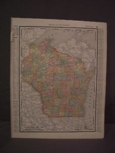 Antique 1898 Color Map Of Minnesota Or Wisconsin From Rand Mcnally Atlas