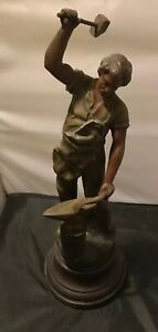 Antique Figurine Of A Blacksmith Designed By Auguste Moreau From The 1930s