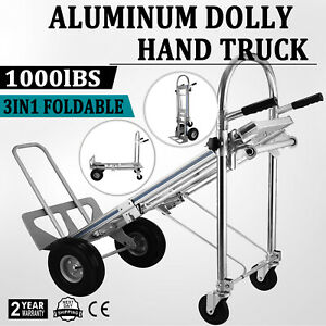 3 in 1 Aluminum Hand Truck Dolly 1000 Lb Utility Cart Folding Multifunctional