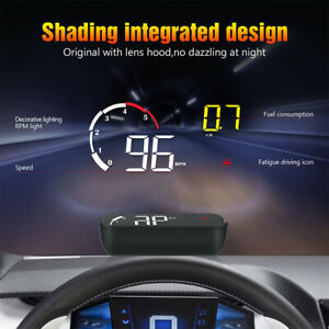 Car Heads Up Display Led Screen Vehicle Speed Hud Monitor System Multifunction