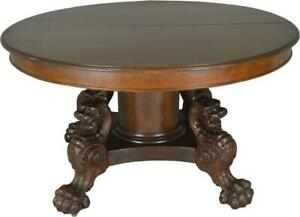17677 Victorian Oak Lion Body Base 54 Dining Table Horner Style