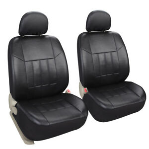 Black Leatherette Car Seat Covers 2 Front Set Synthetic Leather Auto Protector