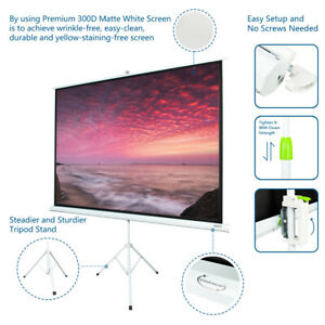 Portable 100 Projector 4 3 Projection Screen Tripod Pull up Matte white