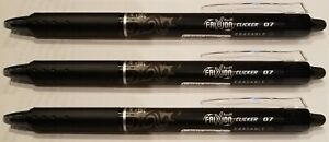 Pilot Frixion Clicker Erasable Gel Ink Pen 0 7mm Black Fine 3 Pc 31474
