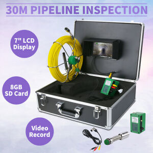 Dvr Recording 30m 7 Lcd Drain Sewer Pipe Inspection Camera Video Endoscope
