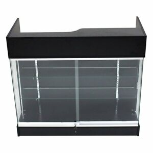 Ledgetop Pos Sales Retail Display 4 Glass Showcase Counter Black Knockdown New