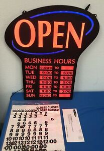 Newon Led Lighted Business open Sign With Business Hours Works 2m