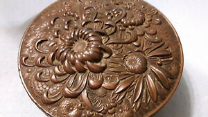4 1 4 Antique Chinese Round Copper Chrysanthemum Embosed Repousse Box