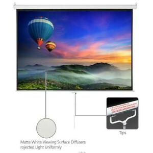 100 Home Movie Manual Projection Screen Pull Down Projector White