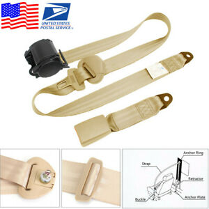 Beige 3 Point Car Seat Belt Auto Retractable Safety Strap Buckle Clip Universal