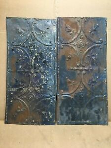 2pc Lot Of 24 By 11 Antique Ceiling Tin Vintage Reclaimed Salvage Art Craft
