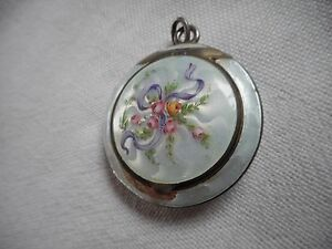 Beautiful Antique Double Sided Gilded Silver 935 Guilloche Enamel Compact Marked