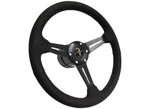 1968 1978 Ford Mustang S6 Suede Steering Wheel Slotted Kit Black Pony Emblem