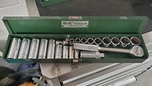 22 Piece S k 3 8 Drive Socket Set In Metal Sk Box Sk Tools Usa