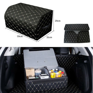 Car Trunk Organizer Large Capacity Pu Leather Auto Fordable Storage Bag For Audi