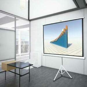 100 4 3 Projection Projector Screen Home Hd Movie Manual Pull Up Stand Tripod