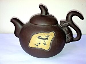 Antique Chinese H Made Small Terracotta Pottery Teapot W Squirrel Design Signed