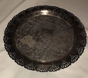 Vintage Silver Plated 12 1 4 Round Serving Tray Platter