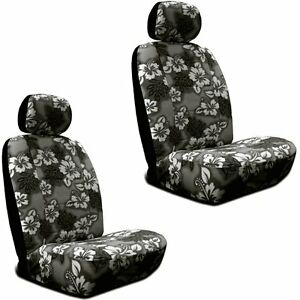 Black Hawaiian Hibiscus Print Low Back Seat Covers Fit s Most Suv s cars