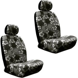 Black Hawaiian Hibiscus Print Low Back Seat Covers Fit s Most Suv s cars trucks