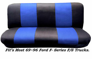 Black Blue Full Size Bench Seat Cover Fits Most 69 96 Ford F Series F S Trucks