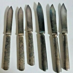 Lot Of 6 Vintage Antique Silverplate Fruit Cheese Knives C Co 2 Patterns