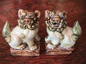 Antique Vintage Hand Molded Glazed Stoneware Foo Dogs 19th C 4 1 4 Tall