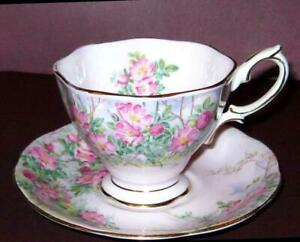 Vintage Royal Albert Bone China Wild Rose Pink English Tea Cup And Saucer Set