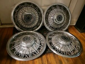 Set Of 4 Oem 1981 85 Ford Fairmont Mustang Capri 14 Wire Hubcaps Wheel Covers