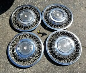 Set Of 4 Oem 1980s Oldsmobile Ninety eight Fwd 14 Wire Spoke Hubcap Wheel Cover