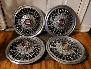 Set Of 4 Oem 1977 82 Ford Fairmont Mustang Granada 14 Wire Hubcaps Wheel Covers