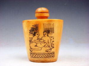 Bone Crafted Snuff Bottle Exotic Ancient Figurines Painted W Spoon 05121918