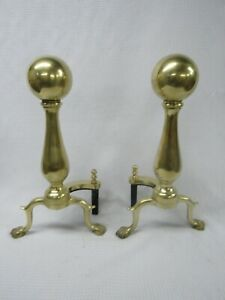 Vintage Pair Solid Brass Fireplace Andirons Claw Foot Ball Finial Top 17 Tall