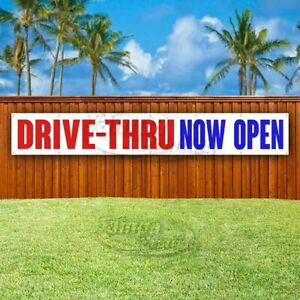 Drive thru Now Open Advertising Vinyl Banner Flag Sign Large Huge Xxl Size