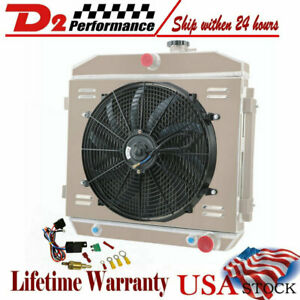 4row Radiator Shroud Fan Thermostat For Chevy Bel Air Nomad 210 150 V8 55 56 57