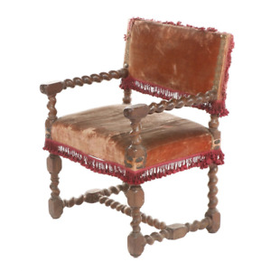 Antique Flemish Carved Barley Twist Armchair