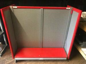 Retail Heavy Duty Display Rack Pegboard Shelf Setup Red grey Used