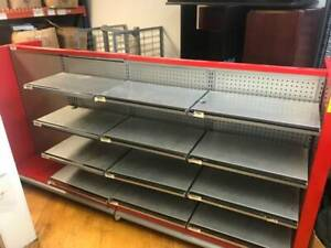 Retail Heavy Duty Display Rack Pegboard Large Shelf Setup Red grey Used