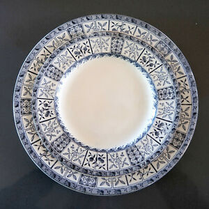 Set Of Two 19th Century Blue And Ivory Transferware Plates Trademarked Brixton