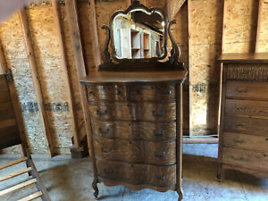 Antique Oak Tall Chest Of Drawers With Mirror Dresser