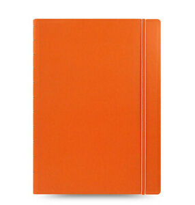 New Filofax A4 Size Refillable Leather look Ruled Notebook Diary Orange 115025