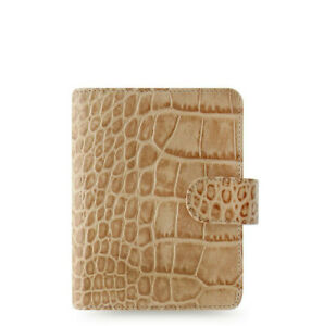 Filofax Pocket Size Classic Croc Organiser Planner Diary Fawn Leather 026010