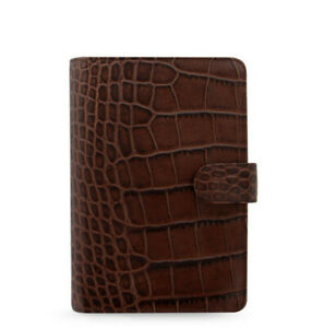 Filofax A6 Personal Classic Croc Organiser Planner Diary Chestnut Leather 026016