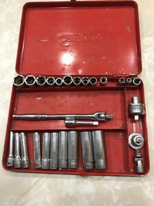 Vintage Snap On 1 4 Drive Socket Set Deep And Shallow With Case